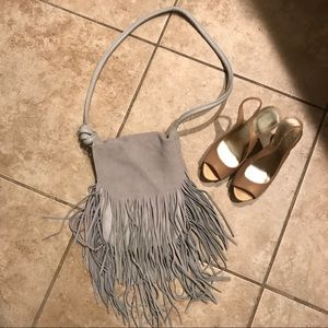 Grey leather & suede fringed purse